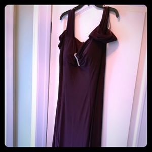 Pretty Plum Cold Shoulder Gown
